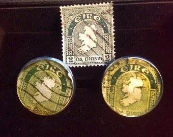 Ireland 2d postage stamp cufflinks ((NOTE: These are the original antique stamps) St. PATRICKS GIFT