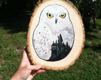 Rustic Harry Potter Hedwig and Hogwarts Painting on Wood Hanging