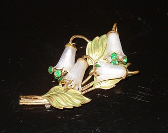 Vintage Book Piece Lily Flower Brooch