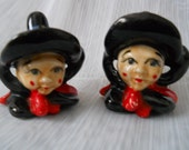 Witch Salt and Pepper Shakers - vintage, collectible, Halloween, Japan, rare