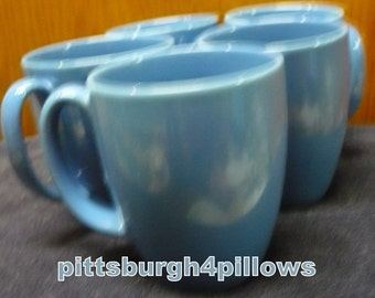 5 - Corelle - Medium Blue Coffee Cups / Mugs - Some Wear  - Price Is For All - 4 x 3 - 12 Ozs