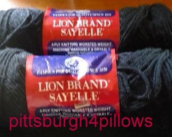 2 - Lion Brand Yarn - Sayelle - 4 Ozs. - 153 Black - Orlon - Price Is For All