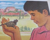 "Original Vintage School Classroom Poster Print - Circa 1968 - Lizard - 9"" x 12"""