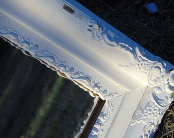Antique Mirror, Ornate Mirror, Wall Mirror, White Mirror, Nursery Mirror, Farmhouse Mirror, Buy in White or choose color