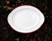 Mid Century Restaurant Ware Platter, Vintage Retro Red Kitchen, Homer Laughlin Red Rimmed Nautilus Platter