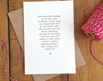 Awkward Non-mushy Valentine's Day card Vintage Typewriter Love Flirty Shy Valentine Card FREE UK P&P