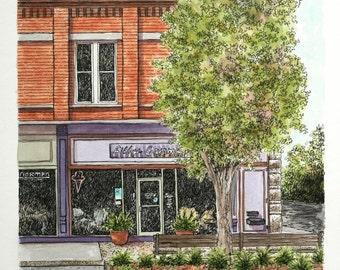 """Architectural Art Jasper Indiana Watercolor Pen and Ink Brick Streetscape Original Home Wall Decor 9"""" x 12"""" Orange Green Purple"""