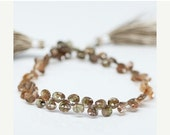 VALENTINE SALE 55% Andalusite Faceted Heart Beads, 4 inches, 5-6mm, SKU10381/M