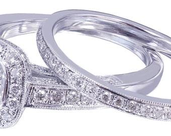 14k white gold cushion cut diamond engagement ring and band 2.00ct G-VS2 EGL USA