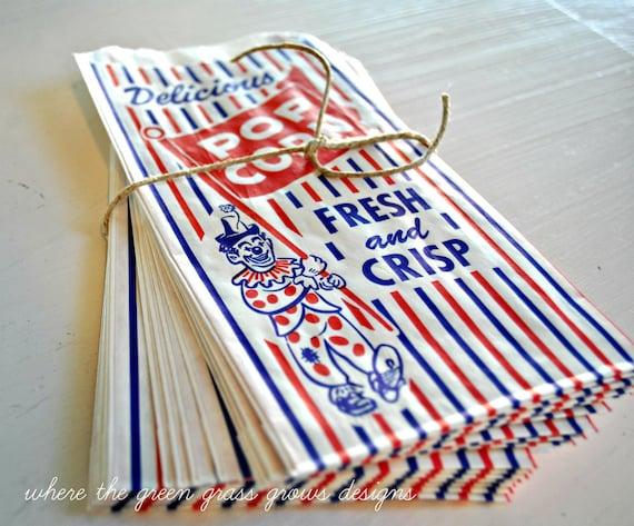 25 Retro Popcorn Party Bags