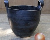 tall black basket, two handled black basket, black ceramic basket