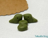 Tiny Army Green Bird Beads Earring Size Birds