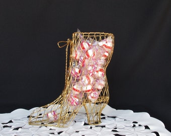Gold Mesh Wire Victorian Lace Up Boot Shabby Chic or Victorian