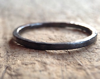 Black Silver Skinny Ring, Black Ring, Textured Ring, Hammered Ring, Stacking Ring, Ring Band, Bohemian Ring, Bohemian Jewelry, Mother's Day
