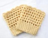 Tan Crochet Boot Cuffs - Super Soft - Golden Tan - Spring Fashion - Open Mesh Boot Cuff - Boot Socks - Gift idea - Warm Weather Boot Sock