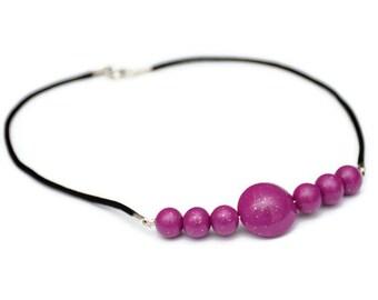 Dark Pink Polymer Clay Necklace - Handmade Beads - Polymer Clay Jewelry - Pink Statement Necklace