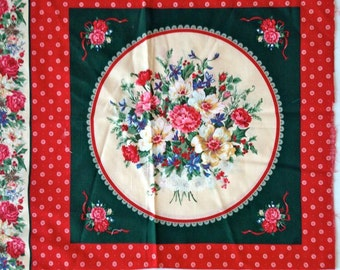 Fabric Panels, Cheater Quilt Fabric, Cheater Panels - Christmas Rose – Preprinted - VIP