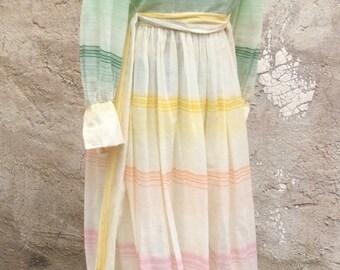 Vintage Micro Stripe Pink Spring Maxi Dress