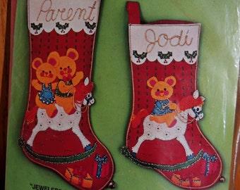 Never opened BUCILLA 2311 2 Jeweled Christmas Stockings Kit THREE BEARS