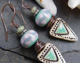 Elowen - Stoneware and Lampwork Boho Earrings