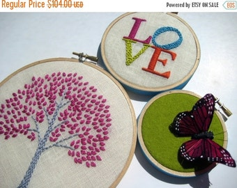 On Sale Tree. LOVE. Butterfly. hand embroidered. hoop art. home decor. wall wear. aqua. magenta. orange. citrine. nature. hand embroidery by