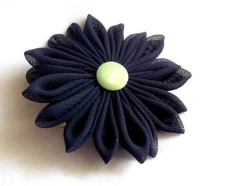 Navy and Green Fabric Hair Flower Cute Gift