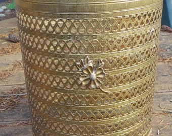 Brass Ornate Footed Waste Basket Cover Cut out Metal Filigree