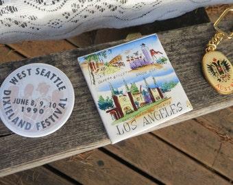Vintage Button, Tile and Keychain Seattle Folk Festival Button Los Angeles Tile Austria Keychain