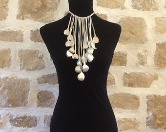 silver white leather braided necklace by Tuscada. Ready to ship.