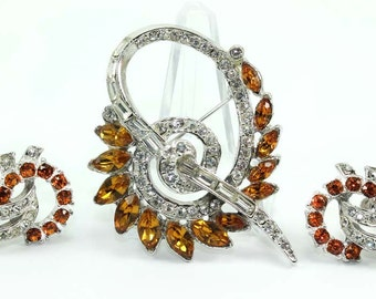 Vintage Topaz and Crystal Clear Rhinestone Brooch and Earring Demi