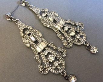 Bridal Earrings with Art Deco Rhinestone in silver tone metal Great Gatsby style wedding jewelry