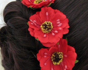 Hair Pins x 6. Red Poppies. Bridal, Wedding, Bridesmaid, Regency, Victorian. Remeberance.