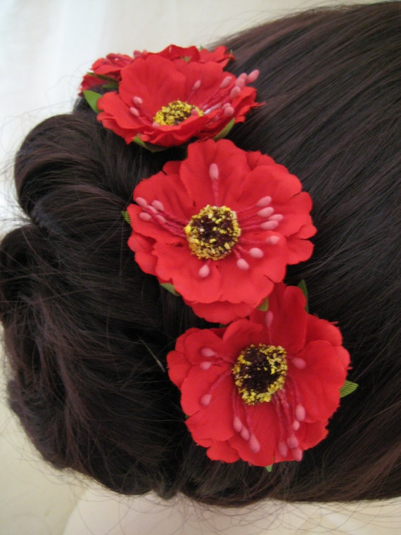 Hairpins x 6. Red Poppies. Bridal, Wedding, Bridesmaid, Regency, Victorian. Remeberance.