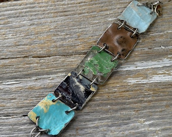 "Upcyced Antique Ceiling Tin into ""Salvaged"" Colorful Tin Mix Cuff Bracelet - ReaganJuel"