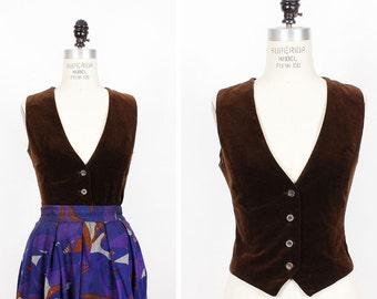 70s Brown Velvet Vest S • Fitted Vest with Wooden Buttons • Soft Velvet Vintage Vest | T375