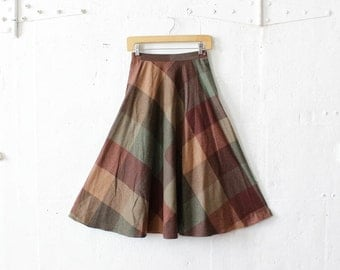 70s Plaid Skirt XS • Midi Skirt with Pockets • Fit and Flare Wool Plaid Skirt • Olive Wool Midi Skirt | SK439
