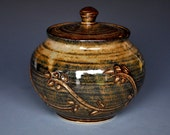 Burnt Umber Pottery Jar Ceramic Lidded Container C