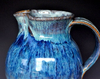 Turbulent Blue Stoneware Ceramic Pitcher Hand Made Pottery Jug B