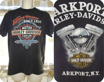 Vintage 90s RARE Harley Davidson Motorcycles Hard Times Don't Last 1991 3D Emblem Biker Rally T-Shirt Tee Arkport, NY Large