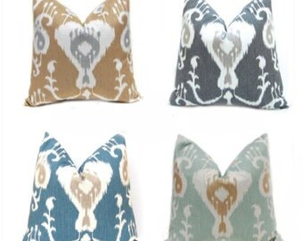 Decorative Pillow Cover - Ikat Pillow Cover - Ikat Cushion Cover - Java Ikat Spa, Ocean, Pewter and Barley - Blue Pillow Cover - Spa Green