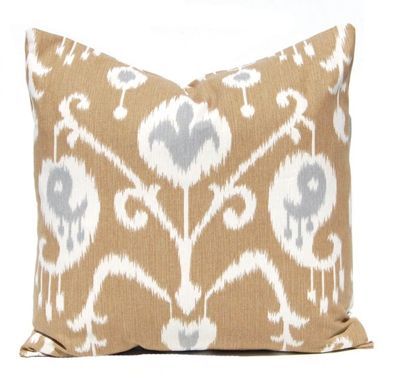 Brown Pillow Covers - Ikat Pillow Cover - Brown with Gray Accents - Same Fabric Front and Back - All Sizes - Brown Cushion Covers