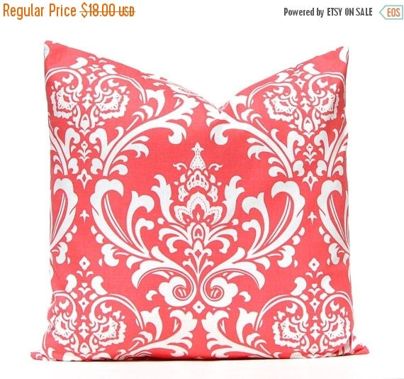 SALE Coral Pillow Covers - Coral and White Damask - Coral Cushion Cover - One 20 x 20 Pillow Cover - Coral Bedding - Coral Home Decor
