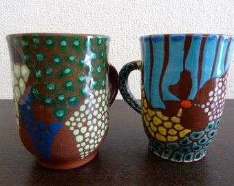 Vintage Pair Painted Ceramic Mugs, Glazed, Brown, Turquoise Blue, Yellow, Green - Artist Signed on Bottom