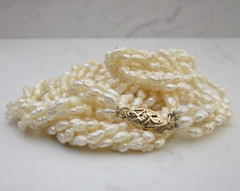 Vintage Five Strand Cultured Freshwater Rice Pearl Necklace with a 14k Solid Yellow Gold Clasp