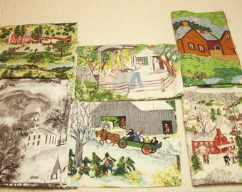 Grandma Moses Vintage Barkcloth Remnants 'n Scraps for Small Projects - Mixed Lot of 11 Pieces, 6 Different Designs