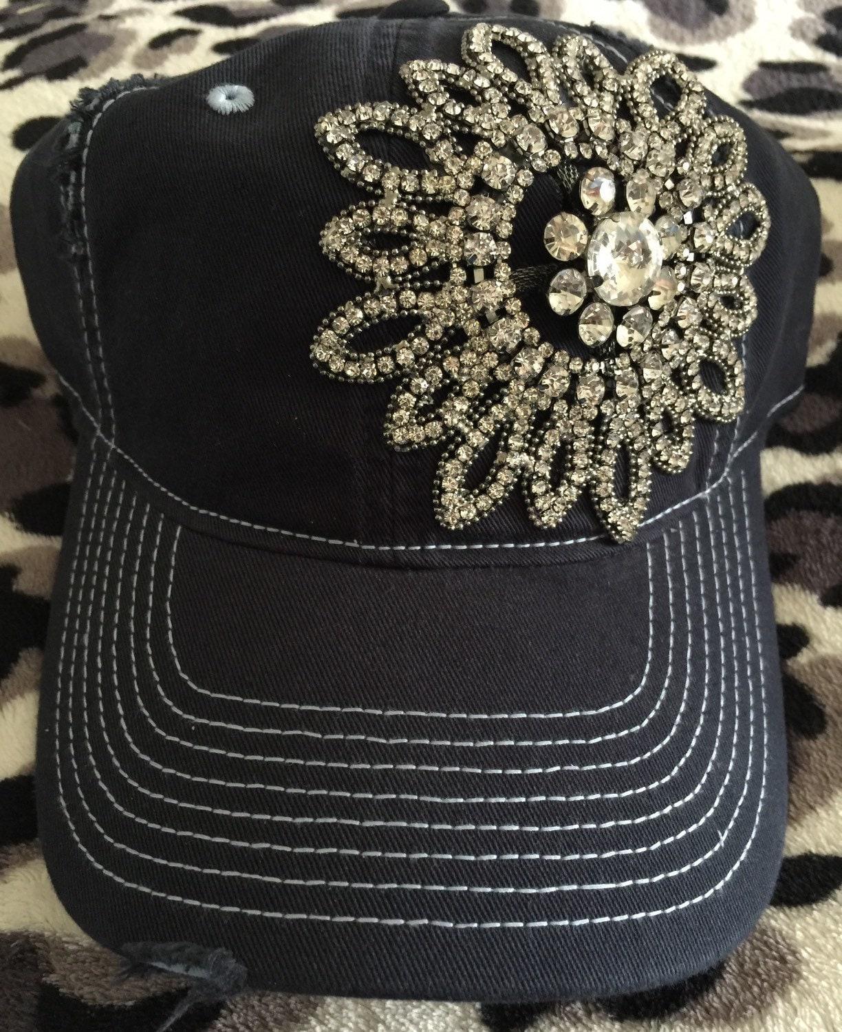 womens baseball hat navy blue rhinestone baseball cap