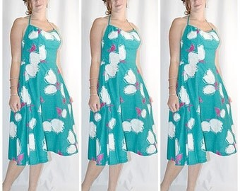 SALE Thru July Vintage 1950s Aqua and White Rose Print Cotton Halter Sun Dress With Built In Bra Sz M/L