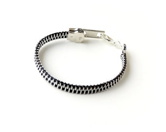 Black Zipper Bracelet, Black and Silver Zipper with Lobster Clasp, Zip Bracelet, Zip Jewellery, Zipper Jewelry, Upcycled Jewellery, UK, 714