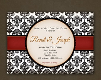 SALE Bridal Shower Damask Invitations Printable, Red