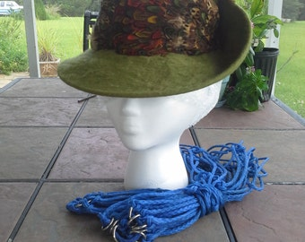 Vintage Toby Of London Felt Hat with Feather Band
